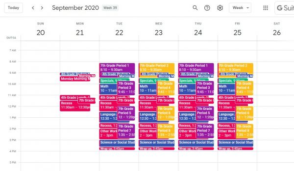 Microstuff_Google Calendars weekly school