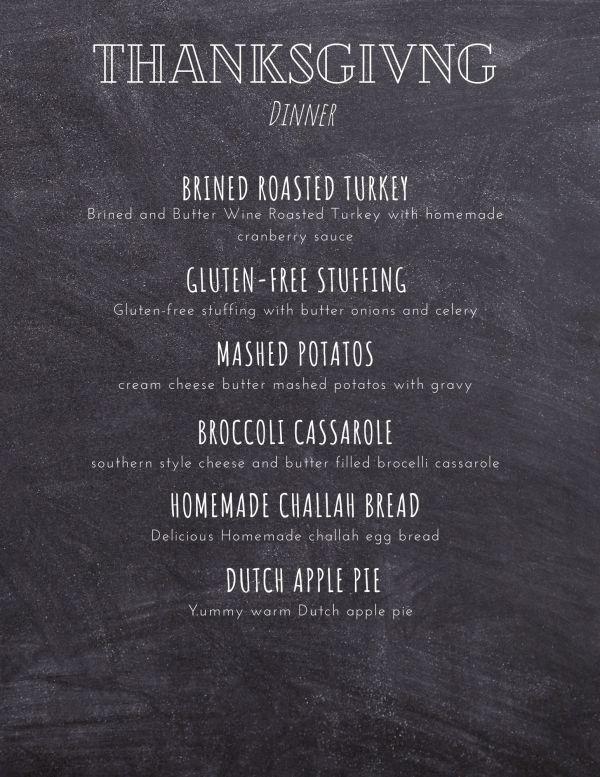 microstuff thanksgiving menu