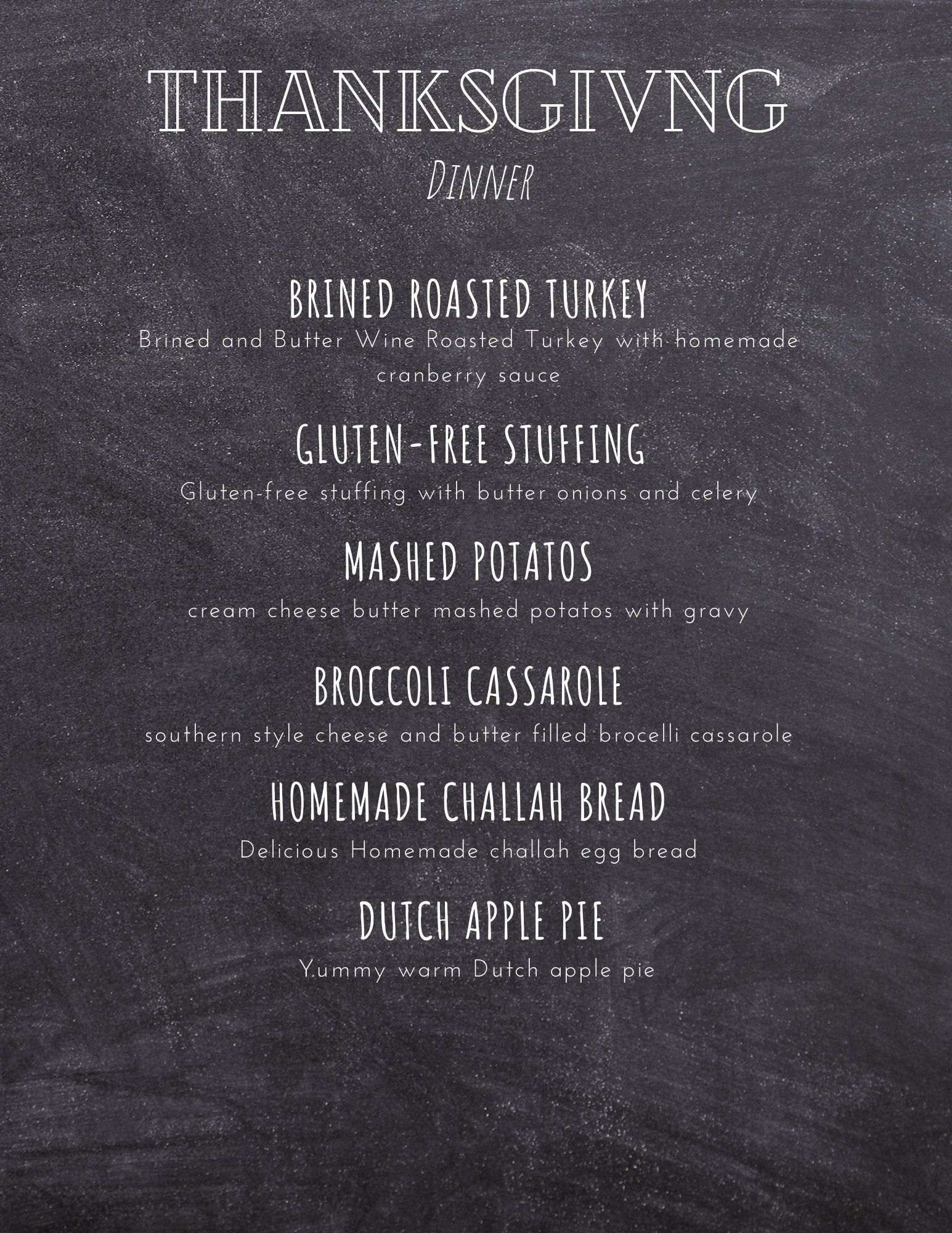 microstuff thanksgiving menu